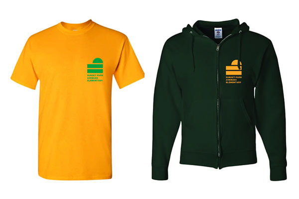 School t-shirt in yellow and green school colors.